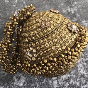 Handbags - Gold Metal Clutch/Potli Bag Hand-Crafted
